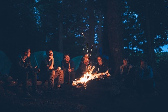Group having Camp Fire