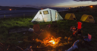 Camp setup with tents